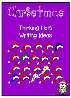 Christmas Thinking Hats | Discussion and Writing Prompts | A set of fun charts with owls wearing Santa hats. These charts include thinking words and inquiry questions prompting a student's personal response to Christmas. An excellent discussion and writing resource.
