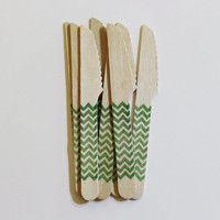 Wood Knives ウッドナイフ 木製ナイフ chevron グリーン 12本セット シェブロン柄