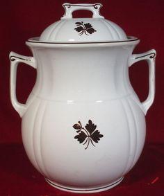 "Rare Alfred Meakin Fish Hook Tea Leaf Ironstone Slop Jar with Lid 14"" Tall 1880s #AlfredMeakin"