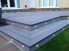 Deck Lighting Composite decking with lights Low Deck Designs, Backyard Patio Designs, Porches, Landscaping Around Deck, Back Garden Design, Patio Steps, Patio Lighting, Lighting Ideas, Diy Deck