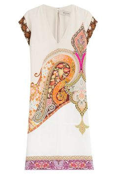 #Etro #Print, #Dress aus #Seide #, #Multicolor für #Damen - Der bunte Boho > Print, natürlich mit dem typischen Etro > Paisley, verleiht dem schlichten Seidenkleid eine besondere Note. Unser Favorit für lockere Sommer > Partys!  >  Cremefarbene Seide, bunter Paisley > Print, V > Ausschnitt, kurze Ärmel, Zipper auf der Rückseite  >  Schmal geschnitten  >  Dazu passen flache Sandalen aus braunem Leder für den angesagten 70s > Look
