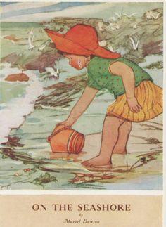 Muriel dawson on the sea shore medici artist signed postcard