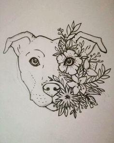 Turn this into a lotus tattoo! Staffy tattoo Staffordshire bull terrier Floral Flower tattoo Women Tattoo design & Model for this into a lotus tattoo! Pitbull Tattoo, Dog Tattoos, Tattoo Drawings, Body Art Tattoos, Art Drawings, Tattoo For Dog, Pitbull Drawing, Woman Tattoos, Pet Tattoo Ideas
