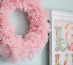 for the girls room Ruffle Wreath - Cluck Cluck Sew Pink Christmas, Christmas Wreaths, Winter Wreaths, Spring Wreaths, Summer Wreath, Cute Crafts, Diy And Crafts, Couronne Diy, Pink Wreath