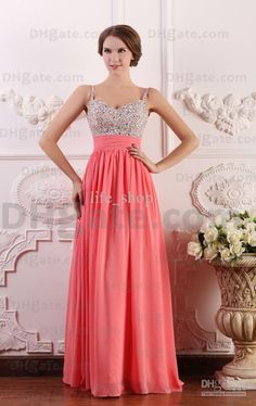 Online Shopping Elegant Beading/Ruched/Zipper-up A-Line Spaghetti Straps Floor-length Chiffon Prom/Evening Dresses(get one pearl necklace for free) 89.97 | m.dhgate.com