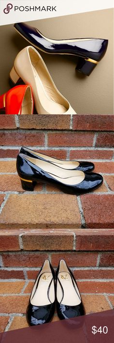 Vince Camuto Signature Gabriel Pump Low block heel patent leather round toe pump by Vince Camuto Signature. The style is called Gabriel. Size 8.5. Gently used. Vince Camuto Shoes Heels