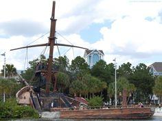 Finding Pirates at Disney World - Disney's Beach Club Resort Pirate ship pool slide