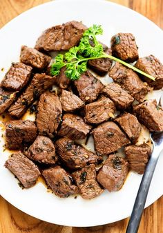 These delicious steak bites are so easy to make. They cook up in minutes! INGREDIENTS 1/2 cup soy sauce 1/3 cup olive oil 1/4 cup Worcestershire sauce 1 teaspoon minced garlic 2 Tablespoons dried basil 1 Tablespoon dried parsley 1 teaspoon black pepper 1-1/2 lbs. flat iron or top sirloin steak, cut in 1-inch pieces