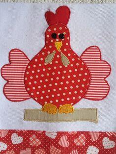 Applique Patterns, Applique Quilts, Applique Designs, Sewing Patterns, Sewing Crafts, Sewing Projects, Chicken Quilt, Crafts For Seniors, Decorative Towels