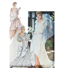 Butterick 1980s Wedding Gown Pattern V -Neck High-Low Skirt train Size 8 10 12 Bust 34 Wedding Dress - Butterick 3510 UNCUT Sewing pattern