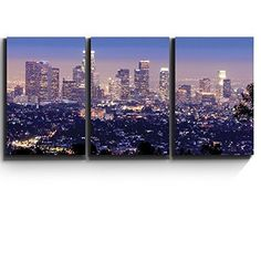 [Framed] Los Angeles Skyline Landscape Wall Art Picture Canvas Prints Home Decor #wall26 #Impressionism