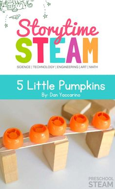 A Preschool STEM activity and challenge based on the book, Five Little Pumpkins.