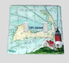 Cape Cod Map Hand Painted Light Switch Cover, Nauset Lighthouse Teal  Red Coastal Living Decor, Coastal Light Switch Cover Switchplate
