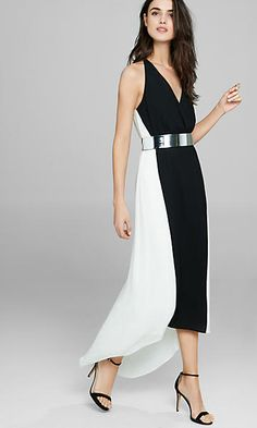 Express Sleeveless Color Block Metallic Belt Maxi Dress