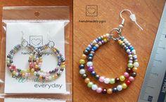 Orecchini cerchi perline multicolore fatti a mano /bead earrings handmadebygio