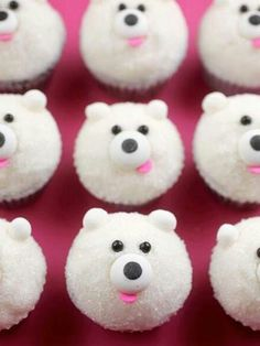 : : food : : DIY Mini Polar Bear Cupcakes [Tutorial] : chocolate jimmies for the eyes + edible eyes for the nose + pink confetti sprinkles for the nose + edible soft pearls for the ears. so easy! Mini Cupcakes, Cupcakes Cool, Bear Cupcakes, Cute Cakes, Cupcake Cookies, Winter Cupcakes, Easy Animal Cupcakes, Samoa Cupcakes, Marble Cupcakes