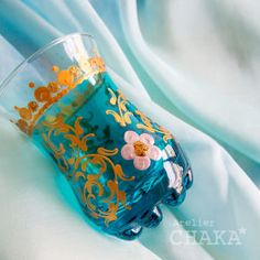 チュニジアのハンドペイントのチャイグラス