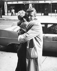 """Audrey Hepburn and George Peppard during the filming of """"Breakfast at Tiffany's"""", 1961."""