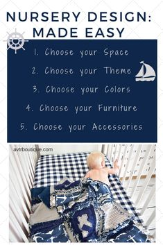 Take the stress out of designing your nursery with these simple 5 steps Step 1: Choose the Space for your Nursery: Will you have a room dedicated to the nursery, a shared space with you or a little sibling, a small closet, or some other place? There are many beautiful ways to design your space no matter how large or small the space is. Step 2: Choose your theme for your nursery: Are you having a girly girl, a little man, or do you lean towards gender neutral no matter the gender?