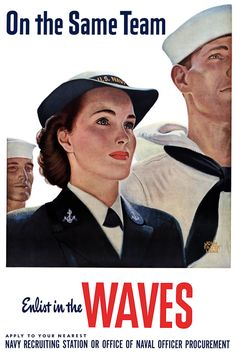 WWII WAVES recruitment poster. #vintage #1940s #WW2 #women