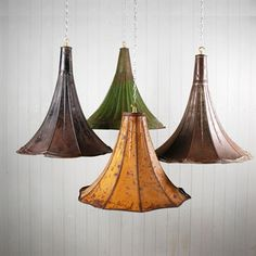 Vintage Gramophone Horn Pendant Lights. I need these in my life!!!
