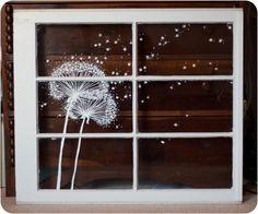 Skurrilen Fenstermalerei Löwenzahn Staub von audreygracephoto