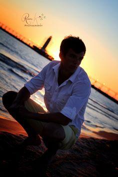senior boy at the beach for silhouette