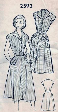 Vintage 40s 50s Mail Order Dress Sewing Pattern 2593 B30 12 Vintage Dress Patterns, Clothing Patterns, Vintage Dresses, Vintage Outfits, Vintage Clothing, 1940s Fashion, Fashion Sewing, Vintage Fashion, Vintage Couture