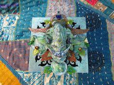 turtles buddha bird box - mixed media art