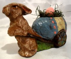 Primitive Handmade Easter Bunny Figurines by LauralCreek on Etsy