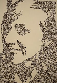 A portrait made out of...words?!         Yep, you heard me, my 8th grade 2D class made their portraits out of words. Lots and lots...