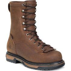 Rocky Ironclad Mens DK Brown Leather 8in Steel Toe Waterproof Work Boots