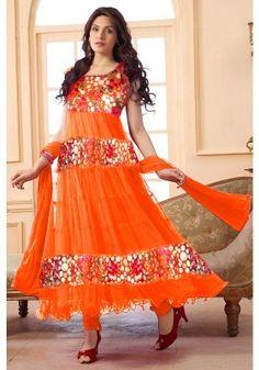 Orange Color Net Anarkali Suit