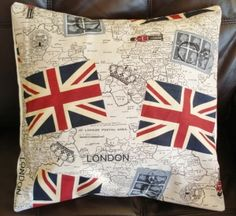 Cushion cover Union jack stamps Royal Mail soldier 18 inch £25  https://thingsbritish.co.uk/index.php/store/catalog/show/9#