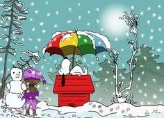 Snow with beach umbrella