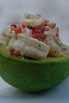 Shrimp salad filled avocados. A local Japanese restaurant here in Charlottesville makes a spicy shrimp and crab salad that they put inside an avocado so you could certainly get creative w/ this recipe!