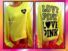 99 Cent #VSPINK #auctions end #Sunday #ebay #cybermonday Victoria's Secret PINK Small S Yellow Campus Heart Signature Crew Sweat shirt