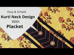 Simple & Easy Kurti Neck Design with Placket /Beginners/DIY Punjabi Suit Neck Designs, Churidar Neck Designs, Neck Designs For Suits, Kurta Neck Design, Dress Neck Designs, Blouse Designs, Blouse Neck, Sari Blouse, Anchor Threads