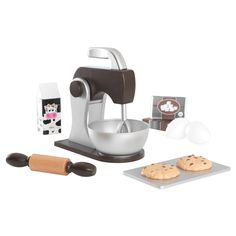 It's snack time! With our new and improved Baking Set, young chefs get to bake up all sorts of fun goodies. From the rolling pin that rolls to the mixers that move up and down, this toy is jam-packed with fun details. Features include: available in three styles: Pastel, Espresso, Red & White; mixers lift in and out of mixing bowl; rolling pin; 2 pretend chocolate chip cookies and a baking sheet; mixing spoon; rolling pin rolls back and forth; milk carton, sugar, flour and eggs; made of...