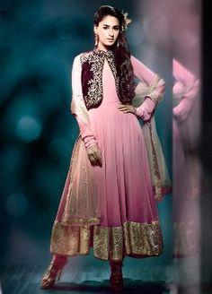 Buy Vikram Phadnis Ramp Walk Pink Anarkali Suit With Jacket