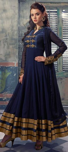 455795 Blue color family Anarkali Suits in Faux Georgette fabric with Machine Embroidery,Zari work .