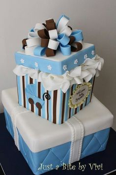 Gift Box Baby Shower Cake: Change colors for girl Gorgeous Cakes, Pretty Cakes, Cute Cakes, Amazing Cakes, Baby Cakes, Cupcake Cakes, Torta Baby Shower, Boy Shower, Gift Box Cakes