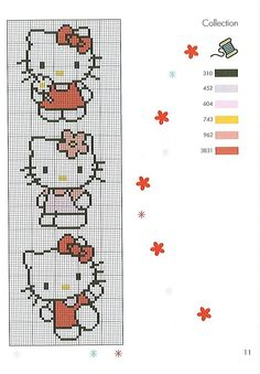 Free Hello Kitty Hama Perler Bead Pattern or Cross Stitch Chart for plastic canvas Cross Stitch Disney, Cross Stitch For Kids, Cross Stitch Bookmarks, Cross Stitch Books, Cross Stitch Borders, Cross Stitch Baby, Cross Stitch Animals, Cross Stitch Charts, Cross Stitch Designs