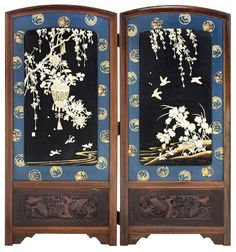 A two-panel folding shibayama and lacquer screen inlaid with bone and ivory Meiji
