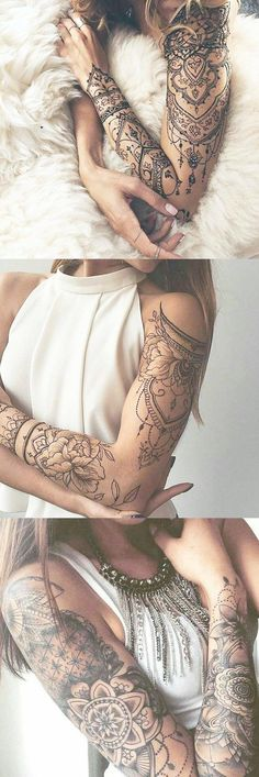 Lotus Arm Sleeve Tattoo Ideas for Women at Tribal Mandala Arm Bi Tribal Tattoos For Women, Chest Tattoos For Women, Tribal Sleeve Tattoos, Best Sleeve Tattoos, Tribal Tattoo Designs, Sexy Tattoos, Tattoo Sleeve Designs, Fake Tattoos For Kids, Female Tattoos