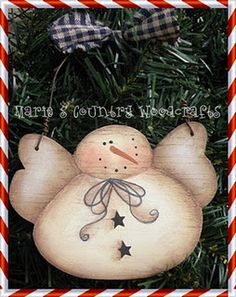 Painted Wood Snow Angel Ornament