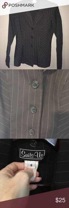 Suit Jacket Black with Purple pinstripes!  Flares at the bottom. Darts. Super flattering suit jacket! This is a light weight jacket. Suits Us Jackets & Coats