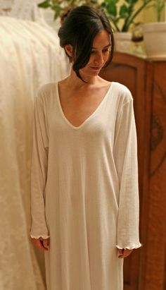 ELEGANT Cotton Nightgown  Long Sleeve Long  Gown Supima Rib by simplepjs, $119.00