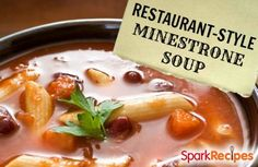 This soup tastes EXACTLY like Olive Garden's Minestrone. Only 190 calories per serving!