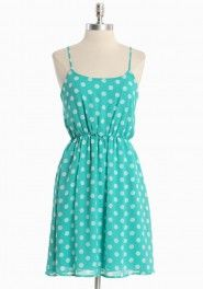 Turquoise blue polka dot dress!